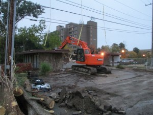Down goes the building