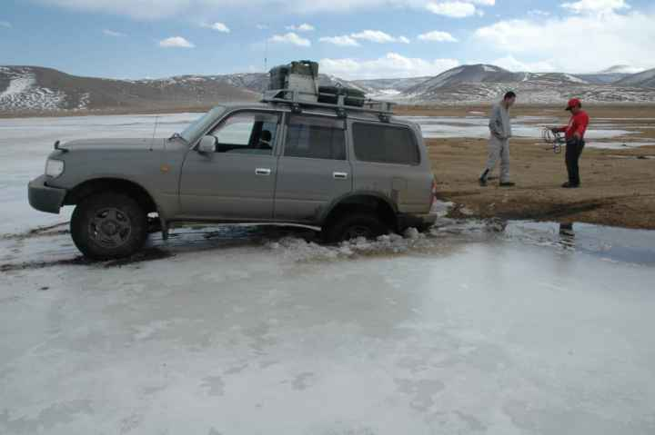 Mongolia - spring, when that frozen river starts to thaw...