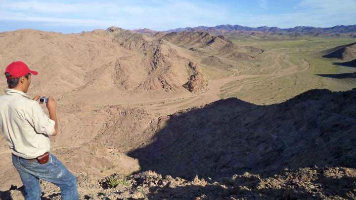 Looking over the rocks with fossil corals in the Mongolian Gobi Altai.