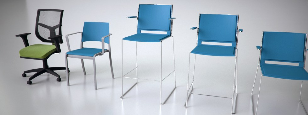 Office seating in a photo-studio setting.