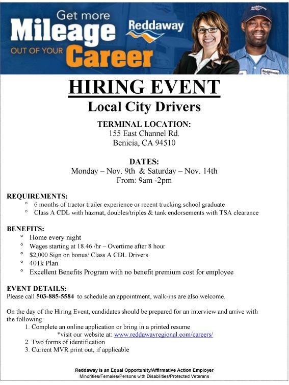reddaway hiring event