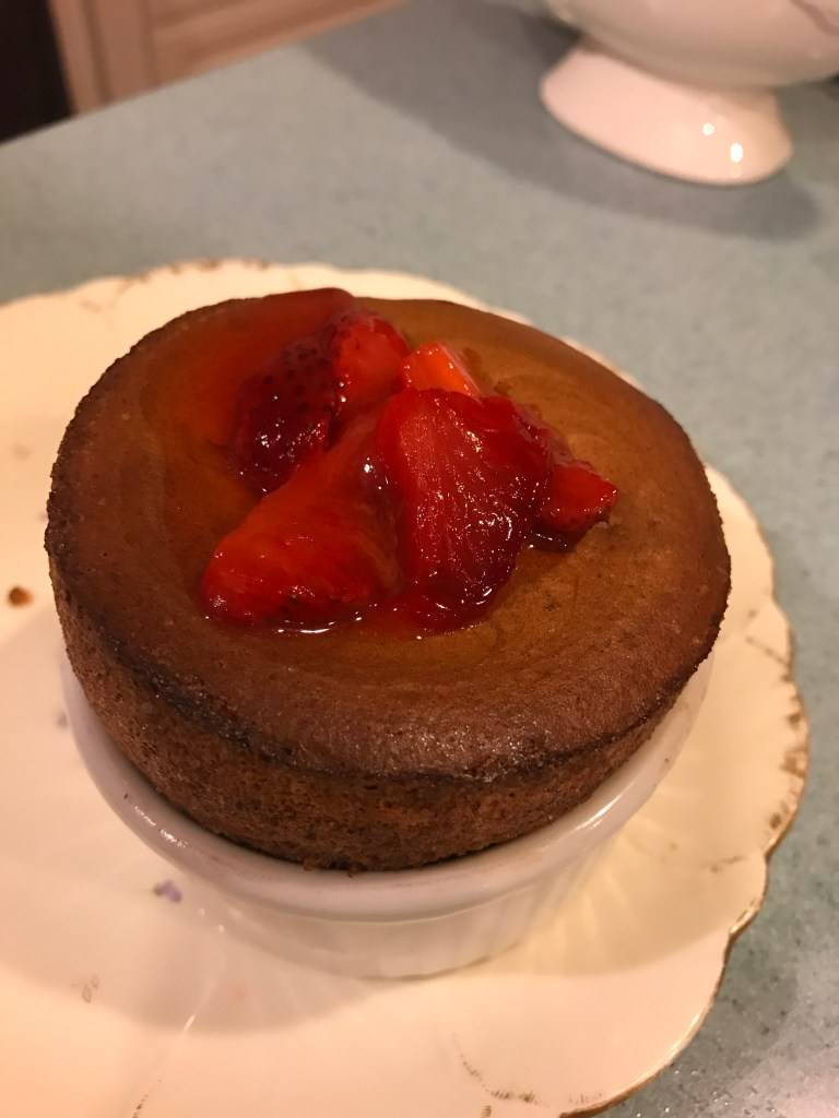 Chocolate Souffle with Strawberry Sauce