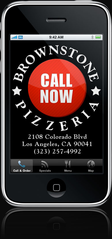 Brownstone Pizzeria iPhone App, Quick-dial screen