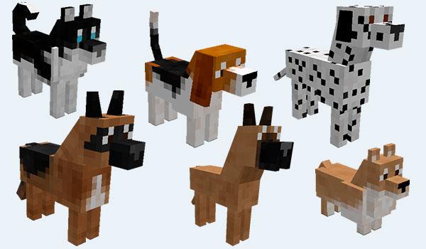 imagen donde vemos seis de las veintisiete razas de perros que encontraremos al instalar este mod.