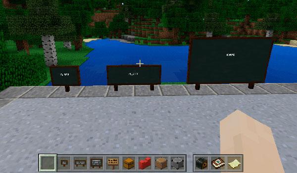imagen donde vemos los tres tamaños de pizarra que un profesor podrá crear en Minecraft: Education Edition.