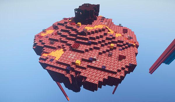 Imagen donde podemos ver una de las más de cien islas flotantes que encontraremos en el mapa sky element 1.10.
