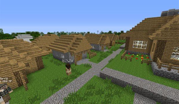 image of a village and its inhabitants, created with the minecolonies mod 1.6.4.