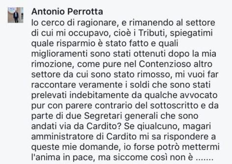 Commento a mezzo facebook di Antonio Perrotta