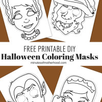 Free Printable DIY Coloring Halloween Masks Set Of Four