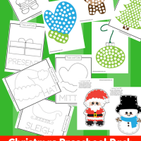 11 Pages of Christmas Coloring Pages, Lacing Cards, Tracing, and Do A Dot Preschool Pack