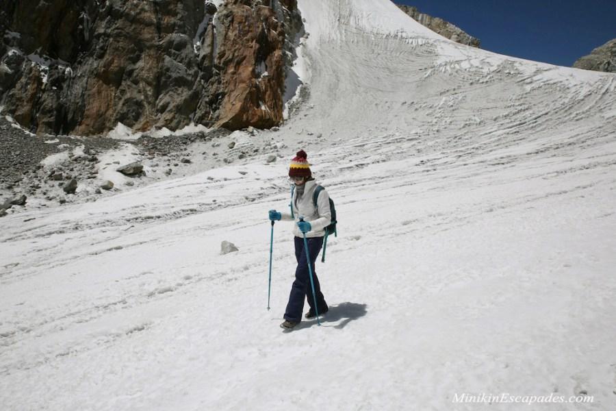 Crossing chola pass glacier