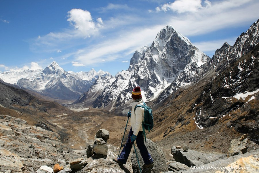 Getting down from Cho la pass with views of Ama Dablam