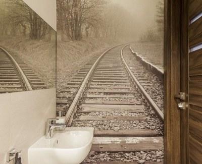 50 Small bathroom decoration ideas – photo wallpaper as wall decor