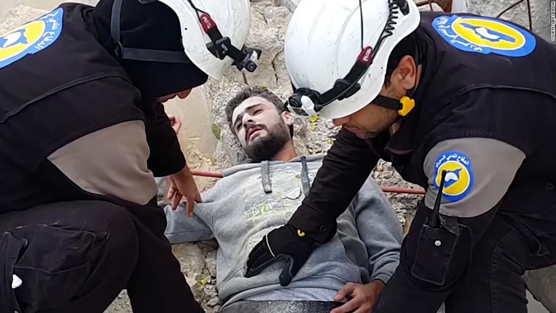 "Screenshot from White Helmets ""Mannequin Challenge"" video."