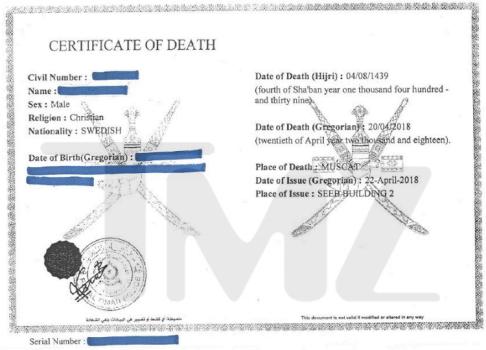 Avicii : l'étrange détail figurant sur son certificat de décès
