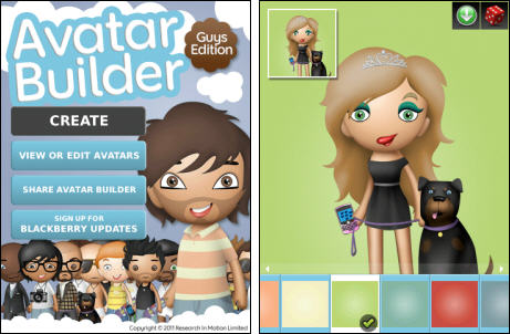 Avatar Builders para Blackberry Messenger