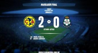 América se mantiene en el rumbo de la victoria, América 2-0 Santos.