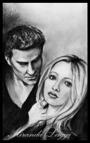 buffy the vampire slayer, buffy, angel, season 2 dvd cover, pencil, david boreanes, sarah michelle geller