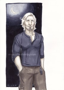 copic marker, con sketch, original character, dog tags, muscular, male, man