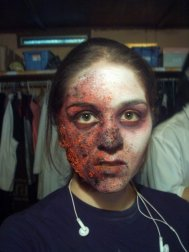 trauma, wound, sfx make up, special effects makeup, horror, gore, burns, burned face, third degree burns, liquid latex