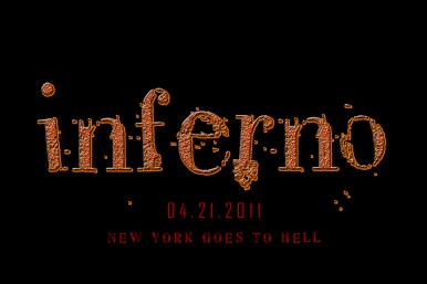 postcard, inferno, dante's inferno, title block, new york goes to hell