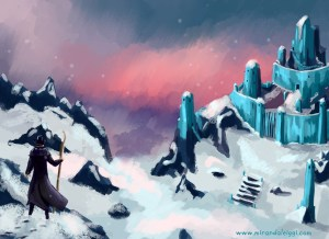 dresden files, dresden, snow, fan art, fanart, digital, sunset, fantasy, ice palace, fearie court, winter court, magic