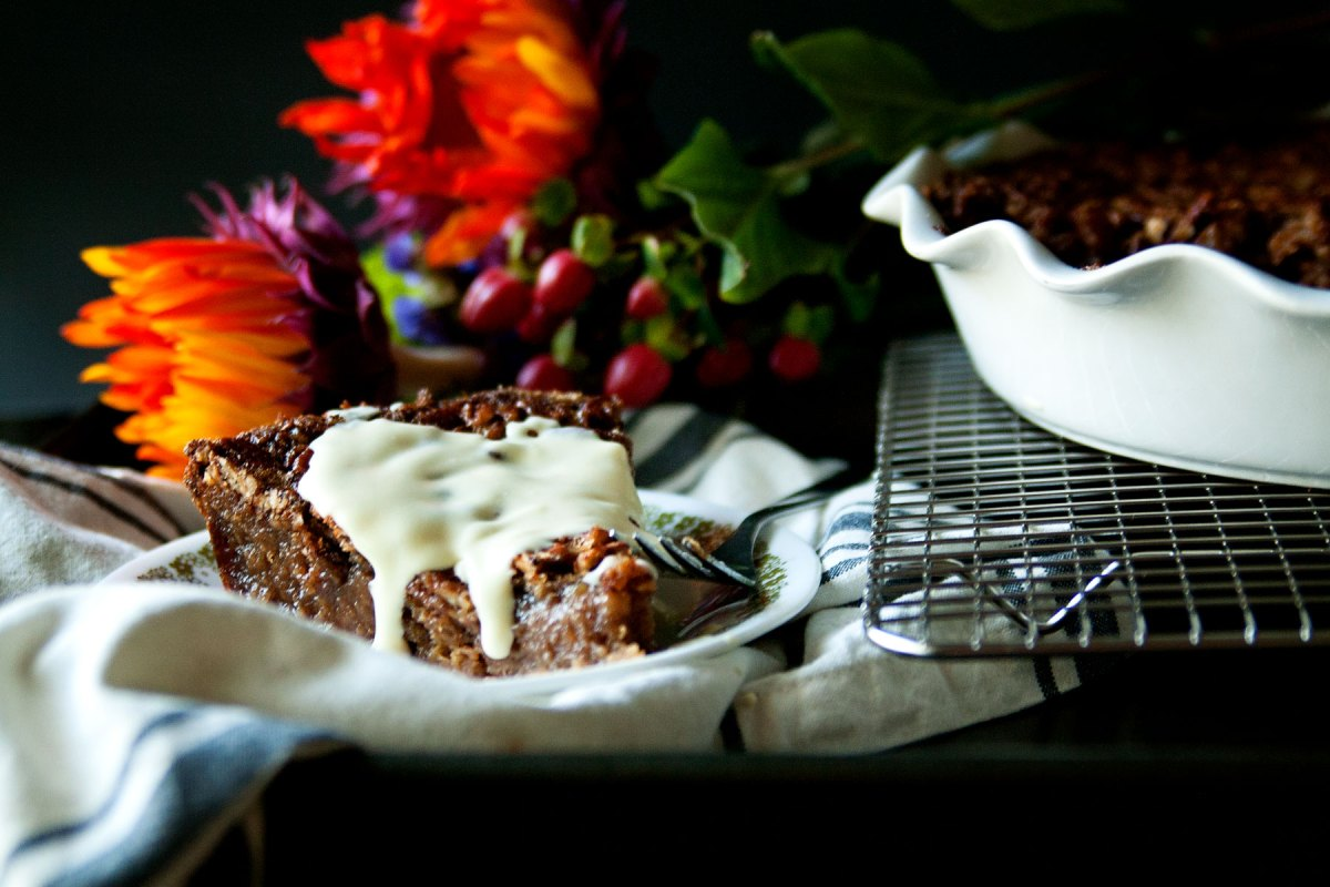 Death by Autumn Pie - Sweet Potato Pie with Pecan Pie topping and Bourbon Cream Sauce