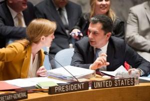 Ambassador Movses Abelian, right, with Ambassador Samantha Power