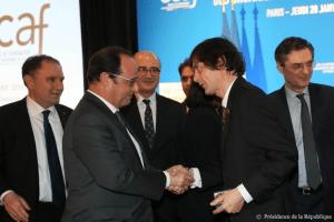 President François Hollande with Prof. Mark Moogalian