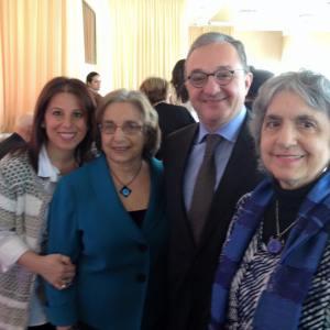. From left, Carolyn Atinizian, Barbara Merguerian, Amb. Zohrab Mnatsakanyan and Judy Norsigian