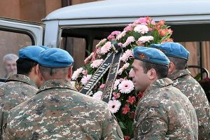Funeral for one of the young soldiers who had died during the war