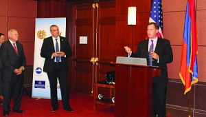 Senator Robert Menendez (D-NJ) and Armenian Ambassador to the U.S. Grigor Hovhannissian listening as Armenian Assembly of America Executive Director Bryan Ardouny speaks at the Armenian Caucus Appreciation Reception on Capitol Hill.