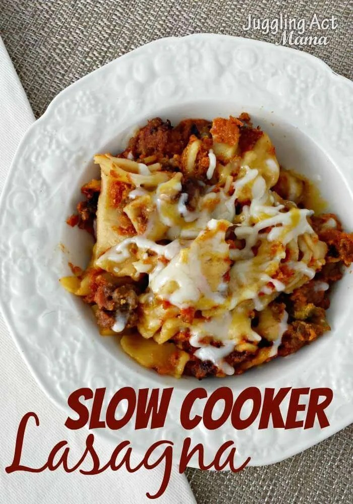 Make this yummy and easy Lasagna in your slow cooker. Perfect for a tasty dinner, parties, or for a friend
