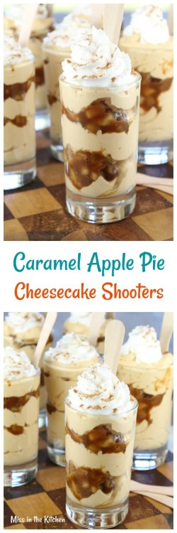 Grande Caramel Apple Pie Cheesecake Shooters Recipe From Caramel Apple Pie Cheesecake Shooters Miss Kitchen Apple Pie Cheesecake Bars Apple Pie Cheesecake Recipe Carnival Eats