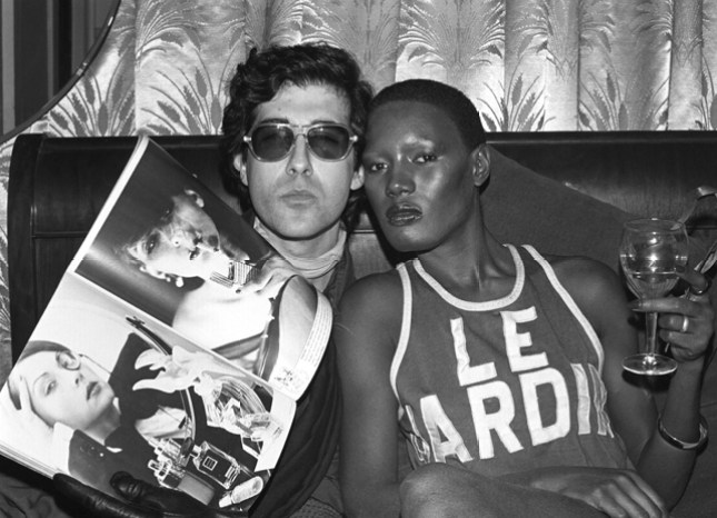 David Croland and Grace Jones wearing a Le Jardin shirt. New York. Photo by Chrostopher Makos