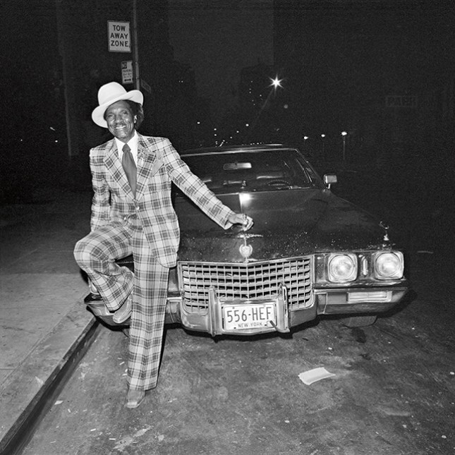 Plaid Suit and Cadillac in Chelsea, NY, NY, May 1978.