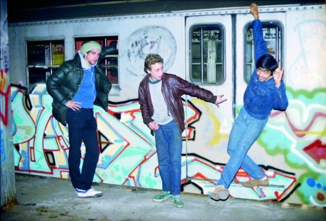 Photo: Bil Rock, Min, and Kel in the City Hall lay-up at night, 1983 ©Henry Chalfant
