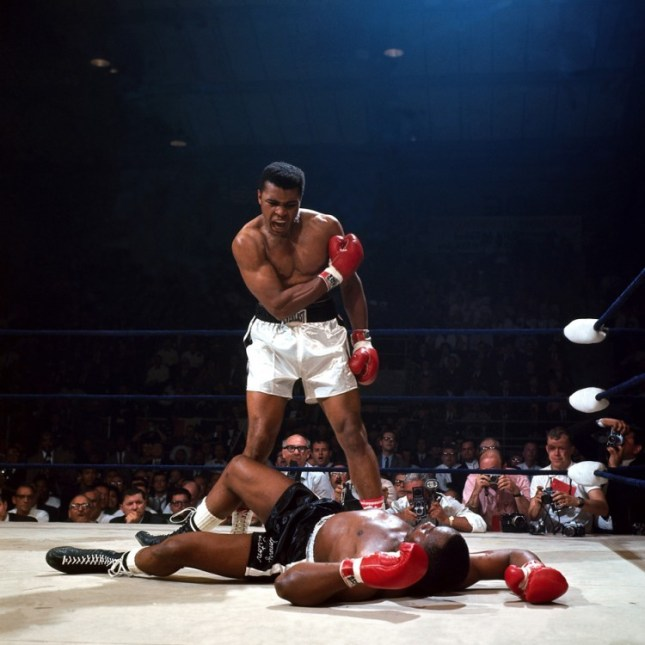 Photo: Photo: Neil Leifer (United States, b. 1942). Muhammad Ali reacts after his first round knockout of Sonny Liston during the 1965 World Heavyweight Title fight at St. Dominic's Arena in Lewiston, Maine, May 25, 1965.