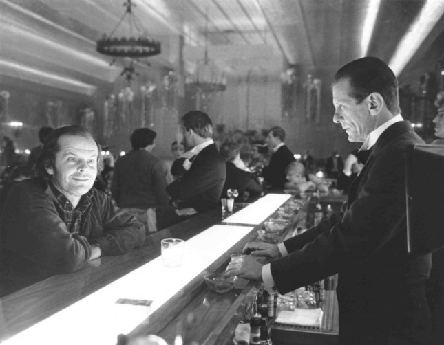 The Shining, directed by Stanley Kubrick (GB/United States; 1978-1980). Jack Torrance (Jack Nicholson) at the hotel bar. © Warner Bros. Ent.