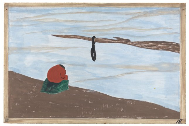 "Artwork: Jacob Lawrence. The Migration Series. 1940-41. Panel 15: ""Another cause was lynching. It was found that where there had been a lynching, the people who were reluctant to leave at first left immediately after this."" Casein tempera on hardboard, 18 x 12″ (45.7 x 30.5 cm). The Phillips Collection, Washington D.C. Acquired 1942. © 2015 The Jacob and Gwendolyn Knight Lawrence Foundation, Seattle / Artists Rights Society (ARS), New York. Photograph courtesy The Phillips Collection, Washington D.C."