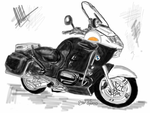 rawing of bmw R-1150-RT-P Police motorcycle
