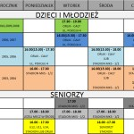 Harmonogram treningów obowiązujący od września 2016 r.