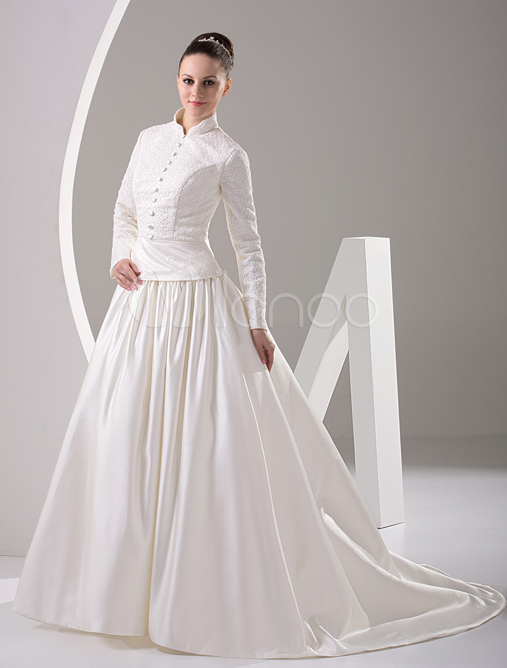 white long sleeves beading satin muslim wedding dress p muslim wedding dress 12