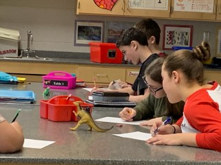 Students draw from observation after learning how to break down complex images and 3D forms into simple 2D shapes.