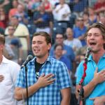 Singing group Hanson sings the National Anthem before the Texas League All-Star Game at ONEOK Field, in Tulsa, on Thursday, June 28, 2012. CORY YOUNG/Tulsa World