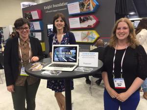 Maggie, Caroline and Sarah (l-r)  at the Knight Foundation booth on Saturday.