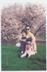 Austin Nguyen at the Brooklyn Botanic Garden with his father and sister, c2007