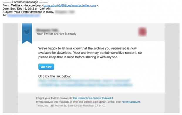 twitter archiv download email