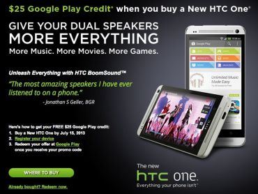 HTC One 25 $ Aktion Final