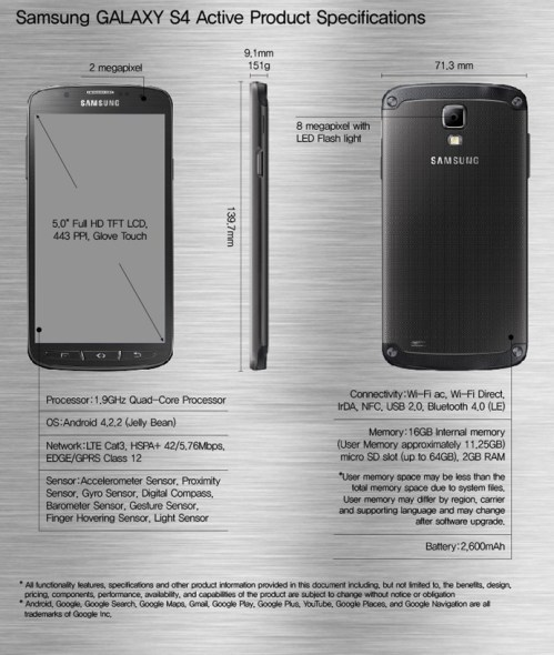 Samsung-GALAXY-S4-Active-Product-Specifications